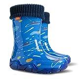 Demar Lux Bright Boys Girls Kids Warm Fleece Lined Wellington Boots Wellies (Space, 8-9 UK/26-27 EU - 165mm)