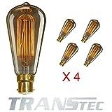 TRANSTEC® 4X ST64 Vintage Edison Glühfaden Birne - Eichhörnchen-Käfig Filament - 40W Glühlampe B22 - Industrie Retro altmodische - Klar