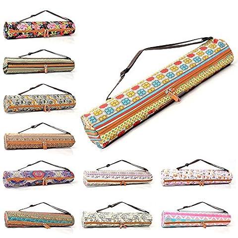 Sac «#» sunita de doYourYoga en canevas (toile), belles finitions pour tapis large tapis de yoga gymnastique et de jusqu'à une épaisseur de 186 x 63 x 0.6 cm, impression-différents designs disponibles. Pinke Azteken