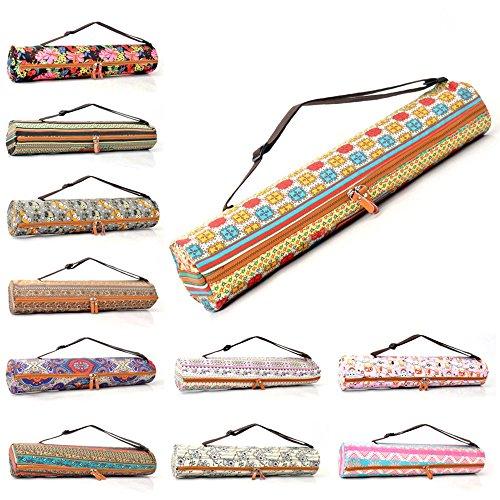 Sac «#» sunita de doYourYoga en canevas (toile), belles finitions pour tapis large tapis de yoga gymnastique et de jusqu'à une épaisseur de 186 x 63 x 0.6 cm, impression-différents designs disponibles. Blaues Muster