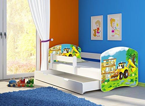 *Clamaro 'Fantasia Weiß' Motiv Kinderbett Komplett Set 140 x 70 cm inkl. Matratze, Lattenrost und Bettkasten Unterbett Schublade auf Rollen, Kantenschutzleisten umlaufend, extra Rausfallschutz Seitenteil (verstellbar), Seitenteile: Weiß, Design: 20 Bagger*