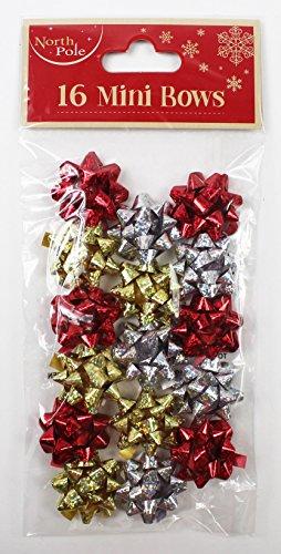16Mini-Schleifen rot gold silber Weihnachten Geschenk Paket Verpackung Band Dekorationen (Silber Wrapping Band)