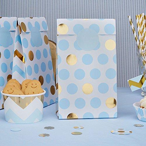 Papiertüten Punkte hellblau gold 20 x 12 x 6 cm 5 Stück - Geschenktüten Hochzeit Candy Bags Kindergeburtstag Mitgebsel Kinderparty Paper Bags Candy Bar Bonbontüten Süßigkeiten-Tüten Dots hellblau gold