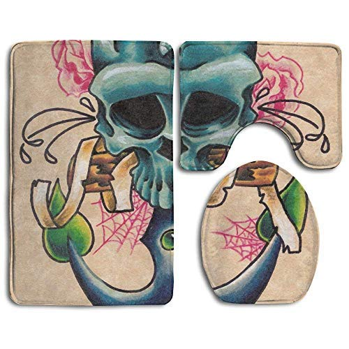 Dor675ser Bath Decor, Bath Rugs, Bath Mat 3 Piece Flannel Bathroom Rug Set,Anchor Skull Rose Design Shower Mat and Toilet Cover, Non Slip and Extra Soft Toilet Kit, Anti Slippery Rug -