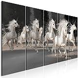 decomonkey | Bilder Pferde 200x80 cm | 5 Teilig | Leinwandbilder | Bilder | Vlies Leinwand | Bilder | Wand | Bild auf Leinwand | Wandbild | Kunstdruck | Wanddeko | Einhorn Tiere Baum Weiß | DKC0219a5M