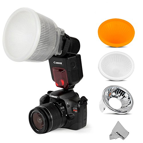 Fomito - Difusor universal Lambency para flash más 3 fundas de color blanco, plateado y naranja para flash Speedlite