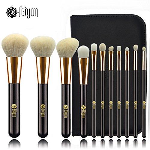 Lot de 11 pinceaux de maquillage Feiyan - Douces et naturelles/synthétiques - Pour fond de teint, poudre - Avec boîte cadeau - Or