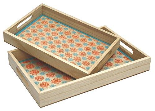 Set von 2natürliches Holz Nistkasten Tabletts mit Marokkanischer Stil Blau und Orange - Brust Marokkanische