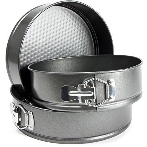 "Andrew James SpringForm Cake Storage Tins - Set of 3 Loose Base Round Tins with Non-Stick Coating for Baking - Quick Release - Dishwasher & Freezer Safe - 22cm (8.7"") 24cm (9.5"") & 26cm (10.2"")"