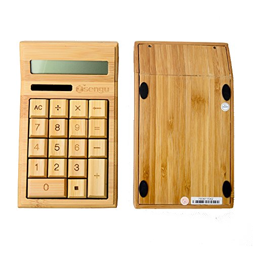 Sengu Handmade Natural Bamboo Wooden Solar Calculator