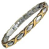 MPS® - Bracelet en acier inoxydable magnétique avec puissantes 3000 gauss terres rares aimants néodyme. Avec outil gratuit pour enlever liens.