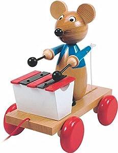 Woodyland Tirar LOS Animales Tirar Tirando Figura DE Madera del RATÓN m. XYLOPHON Woody Juguetes de Madera