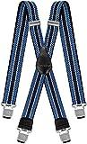 Decalen Hosenträger für Herren breit extra starken 4 cm mit 4er Clips X-Form Lange für Männer und Damen Hose (Hellbau Weiß Blau)