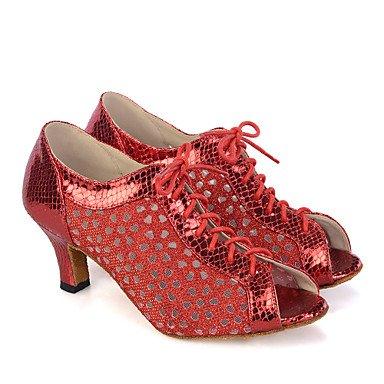 Scarpe da ballo-Personalizzabile-Da donna-Danza del ventre / Balli latino-americani / Jazz / Sneakers da danza moderna / Moderno / Samba Red