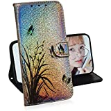 Creative Wallet Case for Samsung Galaxy M40/A60,Miagon Change Color Colorful Painted Design PU Glitter Leather Flip Cover with Card Holder Stand Case,Butterfly Orchid