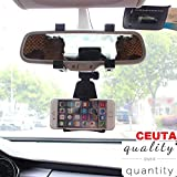 Ceuta Retails, [ Car Rear View Mirror Mount Holder ] Anti Shake Fall Prevention   360 Degree Rotation   with Anti-Vibration Pads