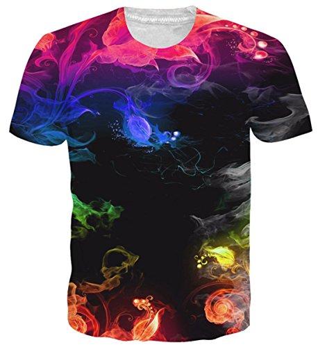 uideazone Jungen T-Shirts 3D Print Bunt Rauch Kurzarm Tee Shirts Tops M