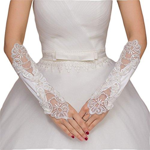 Hochzeit Braut Handschuh (RuiyuhongE Weiße Fingerlos Braut Handschuhe Hochzeit Satin Perlen Handschuhe)