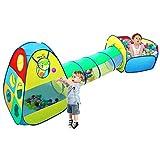3 en 1 Jardín de Casa Tienda de Campaña Infantil ,VICIVIYA Carpa Niños Pop Up Casa de Juego Tiendas de Juegos para Niños con Túnel con Cuadro de Baloncesto Plegable Portátil(Bolas No Está Incluido)