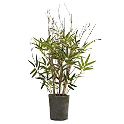 Nearly Natural 5360 27-Inch Bamboo Tree with Cement Pot, Green