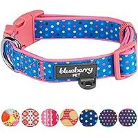 [Gesponsert]Blueberry Pet Bunte Tupfen Neopren Gepolstertes Hundehalsband in Rosarot, Hals 45cm-66cm, L, Verstellbare Halsbänder für Hunde