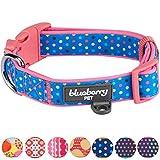 Blueberry Pet Bunte Tupfen Neopren Gepolstertes Hundehalsband in Rosarot, Hals 45cm-66cm, L, Verstellbare Halsbänder für Hunde