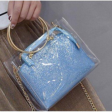 SUNNY KEY-Borsa a tracolla @ Donna Borsa a tracolla PU (Poliuretano) Per tutte le stagioni Casual Cerniera Blu Oro Argento , blue silver