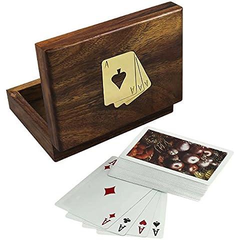 Deluxe Tarjeta de madera Caja individual con 1 Cubierta de plástico recubierto de Naipe