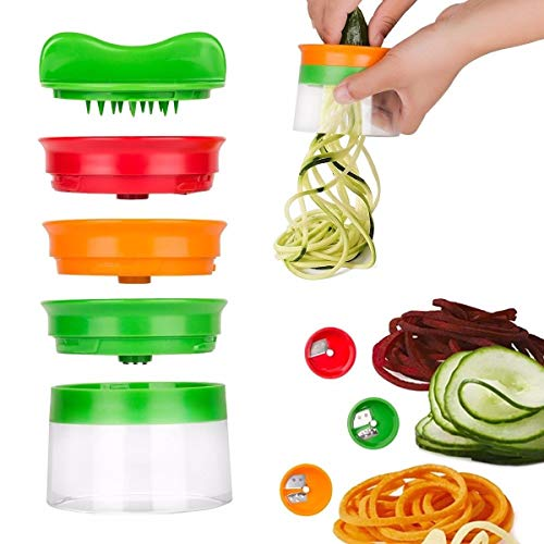 WANGLAI Handheld Spiralizer Gemüseschneider, Veggie Spiral Cutter Zoodle Pasta Spaghetti Maker Gute Griffe Handheld Spiralizer -