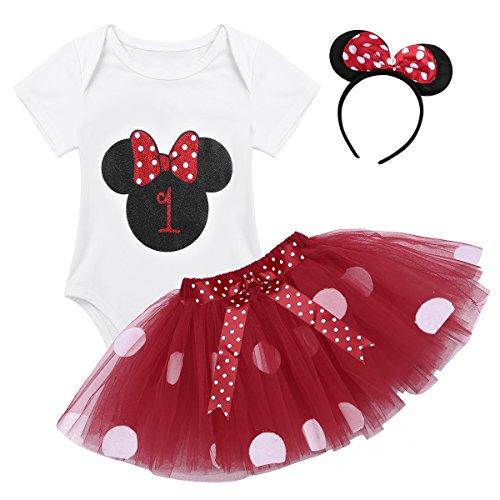 Tiaobug Baby Mädchen Kleidung Set Kleider Baumwolle Strampler Prinzessin Kostüm Neugeborene Polka Dots Tutu Kleid mit Haarreif Rot mit 1 68-80/6-12 Monate