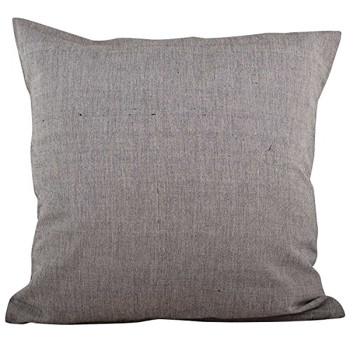 Swadeshi Store 100% Handwoven Cotton Cushion Cover Set of Two - Grey (16