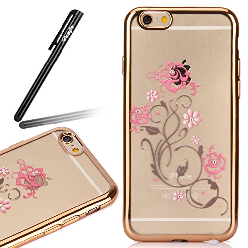 Coque Housse Etui pour iPhone 6s, iPhone 6 Coque en Silicone avec Bling Diamant Or Rose, iPhone 6S Placage de diamant Or Rose Coque Rose Gold Etui Housse, iPhone 6s Silicone Transparent Case Soft Gel  Gold-Fleurs roses