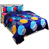 BSB Trendz 3D Sky Blue Bedsheet On Red Rose Printed Double Bedsheet With 2 Pillow Covers Size-90X90 Inches Pillow-17X27 Inches