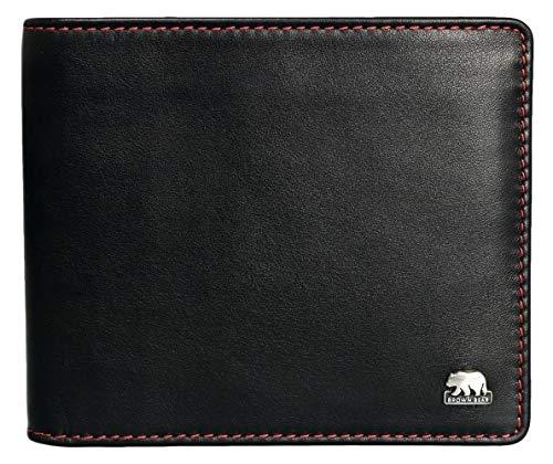 Brown Bear Geldbörse Herren klein Leder Schwarz Rot flach ohne Münzfach hochwertig