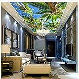 Steaean 3D Photo Papier Peint Plafond Papier Peint Murale Aegean Coco Tree Cool Fond D'Écran HD Peut Être Personnalisé, 200 * 140Cm