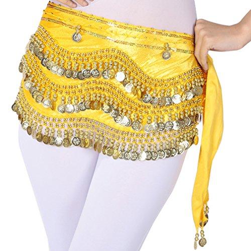 (Damen Bauchtanz Kostüm Triangle Pailletten Coin Hüfttuch Rock Gürtel One Size Gelb Gold)