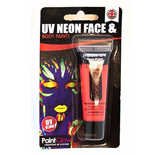 Smiffy's - UV Neon pintura para cara y cuerpo en paquete de ampolla, 10 ml, color rojo (46002)