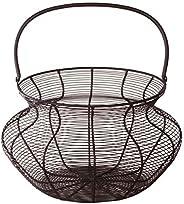 Eierkorb/Dekokorb Metall Draht mit Hänkel schwarz von Varia Living | Aufbewahrung in der Küche für Zwiebeln, K