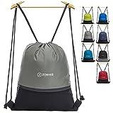 ZOMAKE Cordón Mochila Bolsa Sackpack Impermeable Deporte Gimnasio Saco Bolsas de cuerdas Gymsack Backpack para Hombre y Mujer Gris
