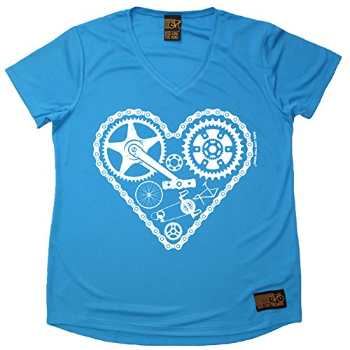 Ladies Cycling Tee - Cycle Heart Parts - Breathable Top Bicycle Cycle Tee Gift Christmas Tshirt Sports Clothing T Shirt Dry Fit V Neck T-Shirt - Heart V-neck Tee
