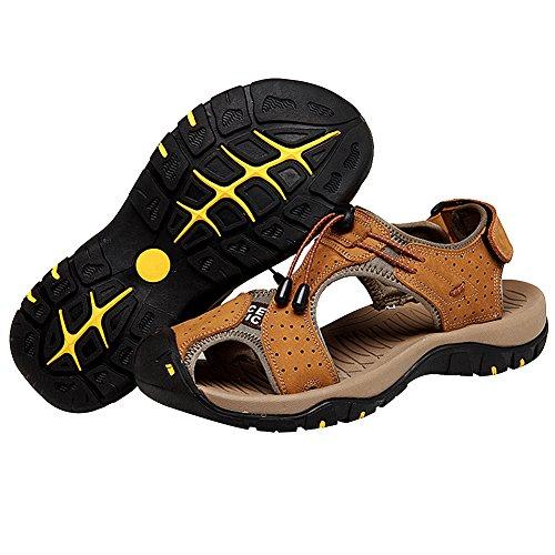 rismart Herren Closed zu Draussen Sport Trekking Schuhe Leder Sandalen Vortrag