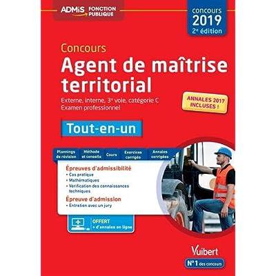 Concours Agent de maîtrise territorial - Catégorie C - Tout-en-un - Externe, interne, 3e voie, Examen professionnel - Concours 2019
