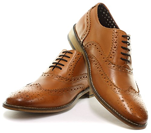 London Brogues richelieu Gatsby Cuir Homme Mocassin Tan Leather