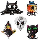 Jiyaru 5PCS Globos de Halloween Bate de Calavera Cat Forma de Animal Halloween Letras Globo de plástico para Halloween decoración Fiesta Carnaval