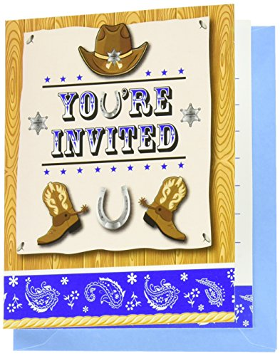 8-count Foldover Party Einladungen, blau Bandana Cowboy