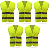 Baytter Car Set Accident Breakdown Warning Vest Vest Safety High Visibility Jacket EN 471, with reflective stripes and 5x 10x Velcro – Standard Size – Yellow/Orange, yellow