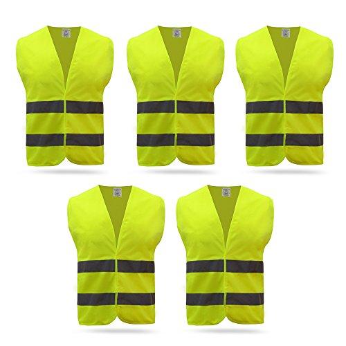 Baytter 5x 10x Auto Warnweste Set Unfallweste Pannenweste Sicherheitswarnweste EN 471 mit Reflektorstreifen und Klettverschluss , gelb orange wählbar, Standardgröße (5 Stück, gelb)