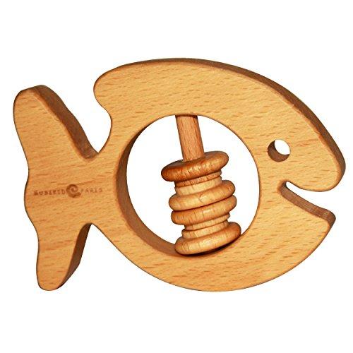 Rassel und Beißringe Musikid. Holzrassel in Form fisch Ente, Leinöl-Beschichtung, 100 {0585ed5cf1acf097cb9464d56cf214400da52b842d4844c87a15d956cd240deb} natürlich, beruhigendes Spielzeug für Babys ab 3 Monaten