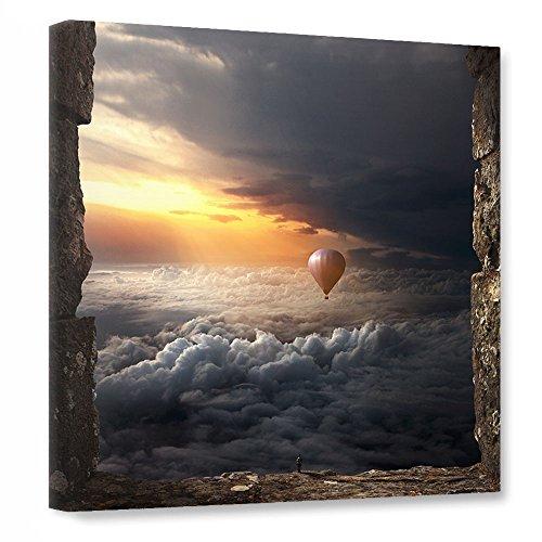 """Preisvergleich Produktbild artboxONE Leinwand 40x40 cm Abstrakt Reise Fiktion """"Point of departure"""" blau Kunstdruck auf Leinwand - Wandbild Abstrakt Reise Fiktion von Surreal World"""