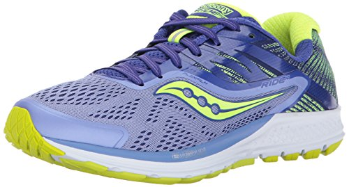 Saucony Ride 10, Scarpe Running Donna, Blu (Purple/Blue/Citron), 39 EU